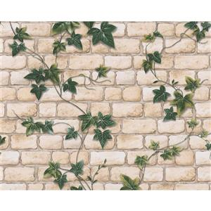 A.S. Creation Dekora Natur 6 Wallpaper Roll - 21-in - Brick with Vines - Green and Beige