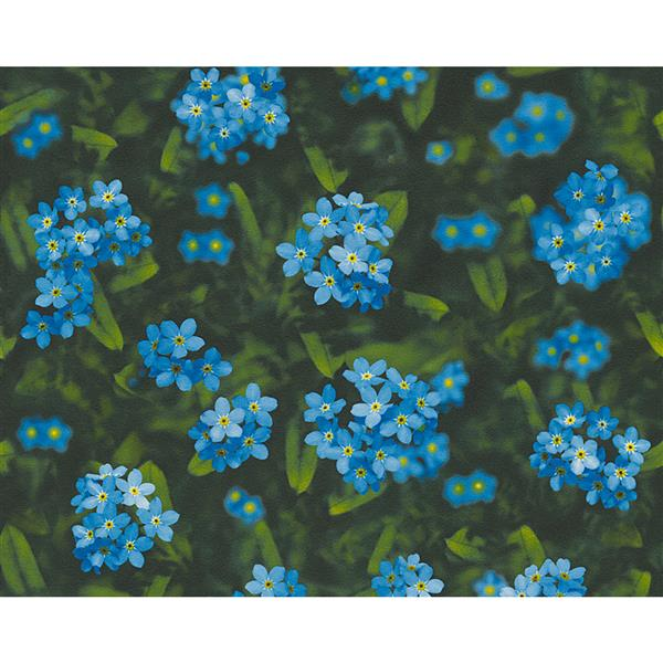 A.S. Creation Dekora Natur 6 Wallpaper Roll - 21-in - Real Flowers Design - Blue and Green