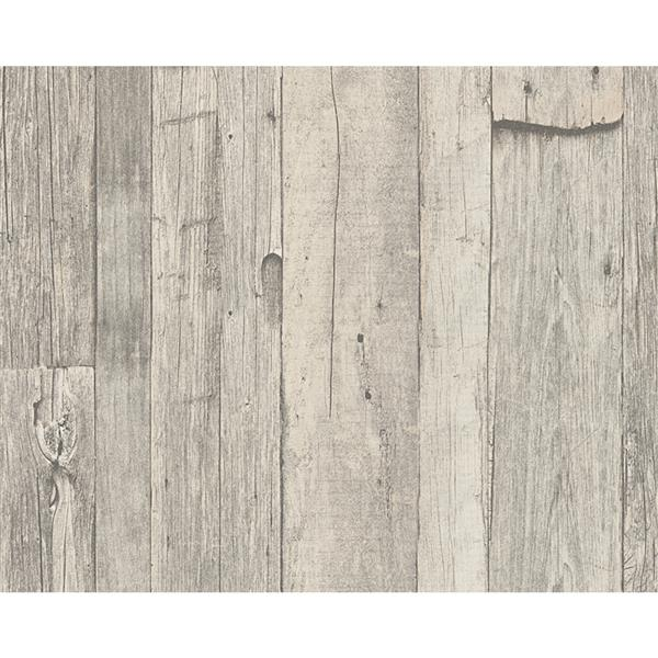 A.S. Creation Dekora Natur 6 Wallpaper Roll - 21-in - Wood Design - Light Grey