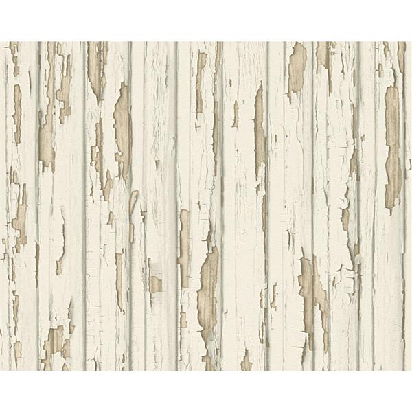 A.S. Creation Dekora Natur 6 Wallpaper Roll - 21-in - Beach Wood Design - Off-White