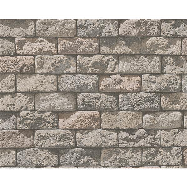 A.S. Creation Dekora Natur 6 Wallpaper Roll - 21-in - Brick Look - Grey and Beige