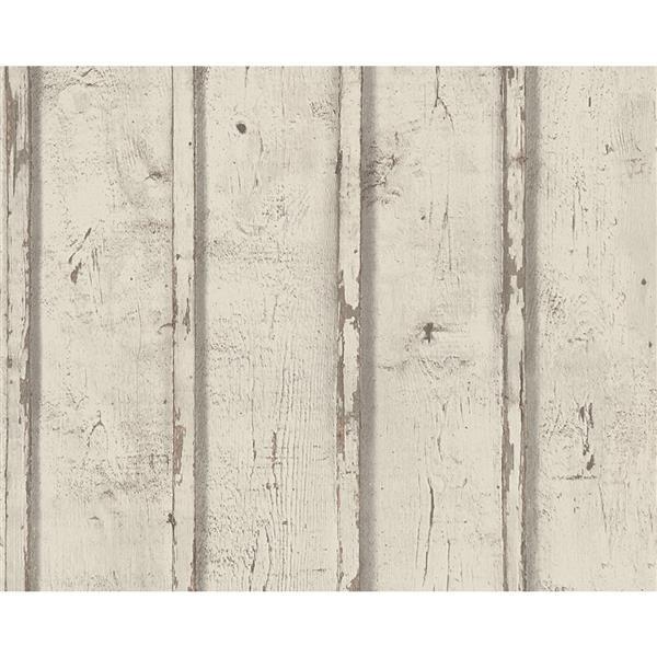 A.S. Creation Dekora Natur 6 Wallpaper Roll - 21-in - Antique Wood Design - Off-White