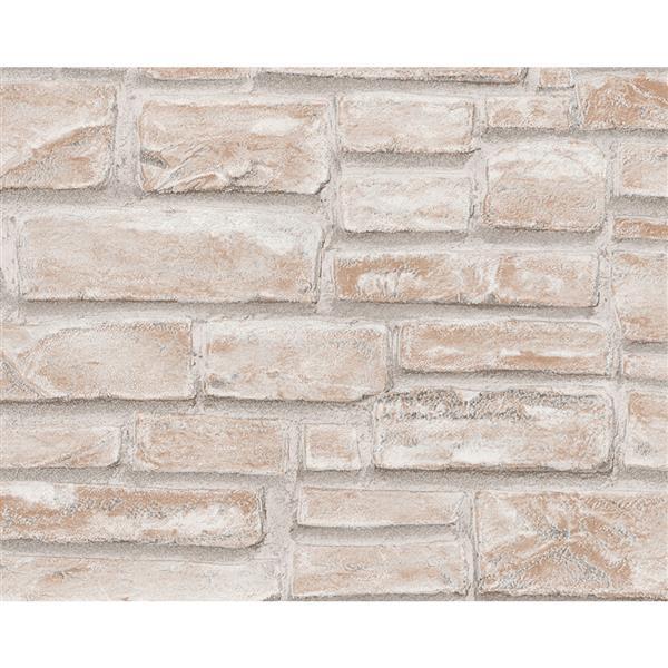 A.S. Creation Dekora Natur 6 Wallpaper Roll - 21-in - Bricks Pattern - Beige/White