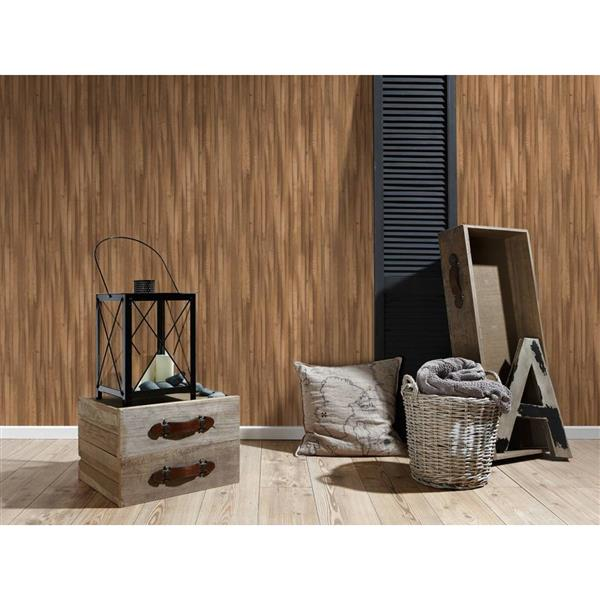 A.S. Creation Deco World 2 Wallpaper Roll - 21-in - Faux Wood Stripes - Brown