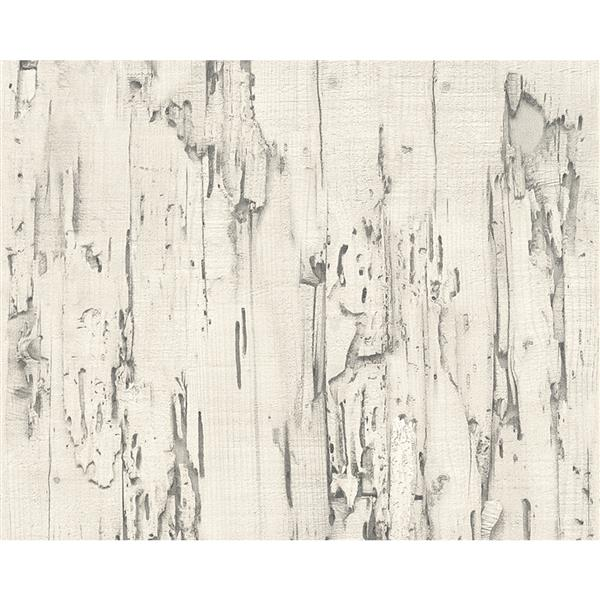 A.S. Creation Deco World Wallpaper Roll - 21-in - Antique Wood Design - White