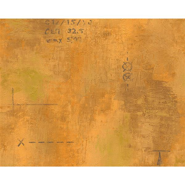 A.S. Creation Deco World Wallpaper Roll - 21-in - Faux Finish Pattern with Scripts - Orange/Yellow