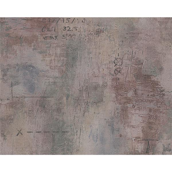 A.S. Creation Deco World Wallpaper Roll - 21-in - Faux Finish with Scripts - Grey/Purple