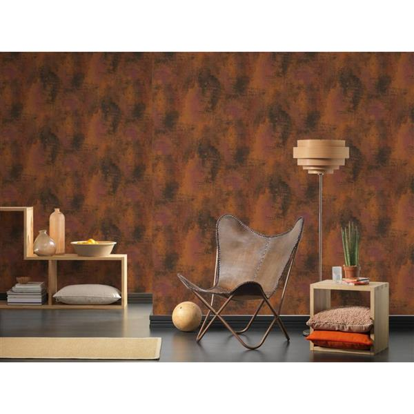 A.S. Creation Deco World Wallpaper Roll - 21-in - Faux Finish with Scripts - Rusty Brown