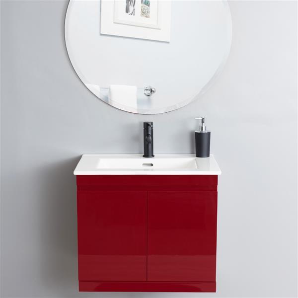 "Ensemble meuble-lavabo mural ""Radley"", 25"", rouge"