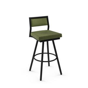 Tabouret de bar pivotant Jacob 30,75 po, polyester vert, métal noir