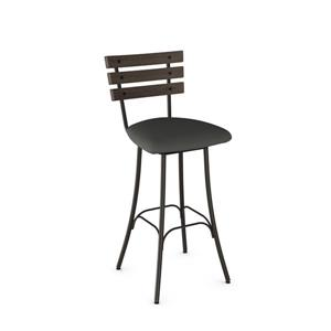 Amisco Lodge Swivel Stool- Black