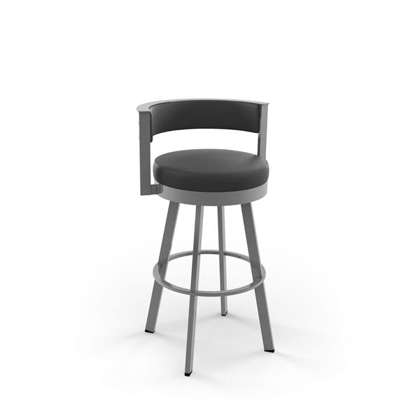 Amisco Browser Swivel Stool - Grey and Silver - 30-in