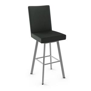 Amisco Elmira Swivel Stool - Black and Grey Metal