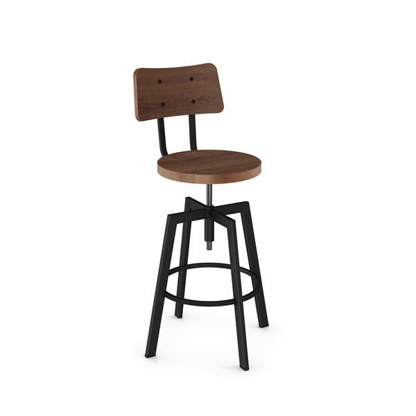 Tabouret de bar à vis Woodland, noir et bois brun