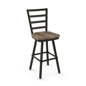 Amisco Prescot Swivel Stool - Wood and Metal - 42""