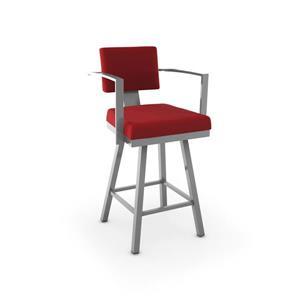 Tabouret de comptoir pivotant Akers 26,25 po, polyester rouge, métal gris lustré