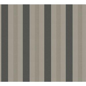 Modern Striped Textured Wallpaper -  Cream/Grey
