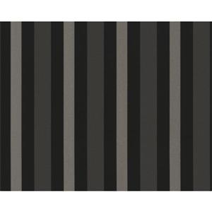 Striped Textured Wallpaper -  Black/Light Brown