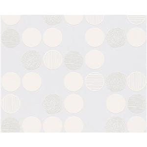 A.S. Creation Modern Striped and Circle Wallpaper Roll - White
