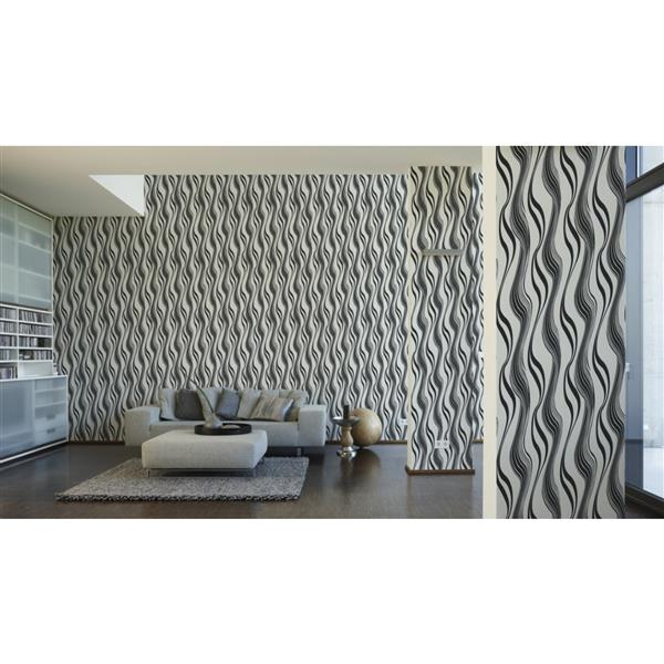 A.S. Creation Modern Striped and Circle Wallpaper Roll - Cream/Black