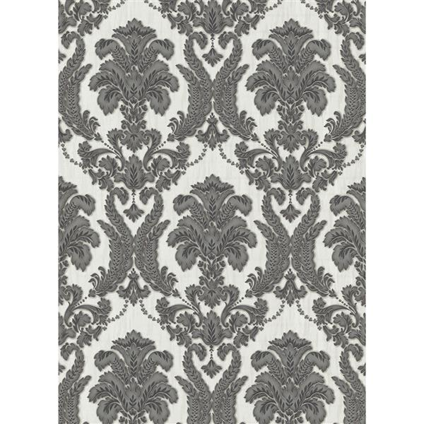 Romantic Renaissance Damask Wallpaper Roll - Grey