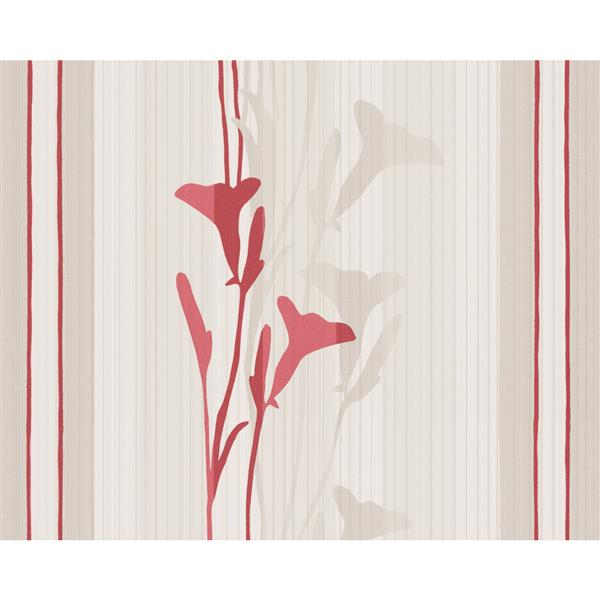 A.S. Creation Striped Floral Decorative Wallpaper Roll - Caramel