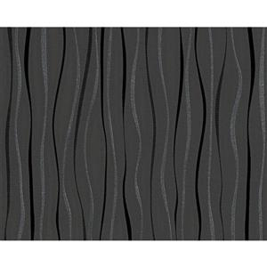 A.S. Creation Modern Decorative Wallpaper Roll - Curved Lines - Metallic Black