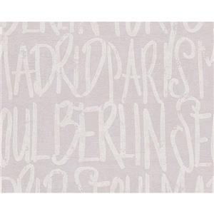 A.S. Creation Modern Decorative Wallpaper Roll - Letters - Cream/Grey