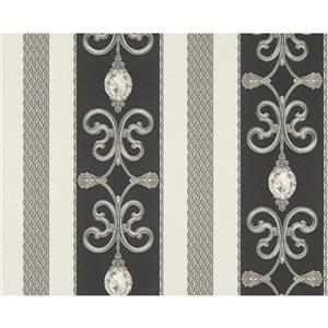 A.S. Creation Modern Crystal Wallpaper Roll - Black/Grey/White