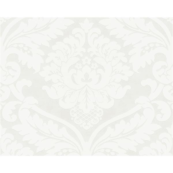 A.S. Creation Modern Damask Wallpaper Roll - White