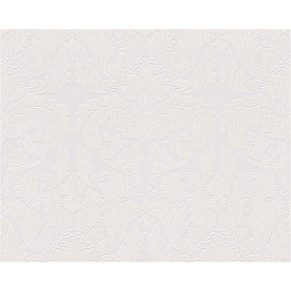 A.S. Creation Modern Damask Wallpaper Roll - White/Grey