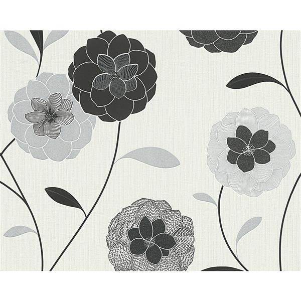 A.S. Creation Modern Floral Wallpaper Roll - Black/White/Grey