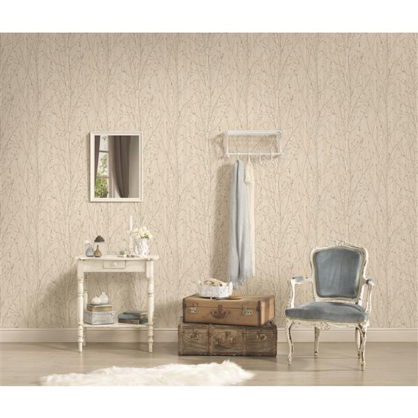 A.S. Creation Borneo Collection Wallpaper Roll - Delicate Floral Pattern - Cream and Grey
