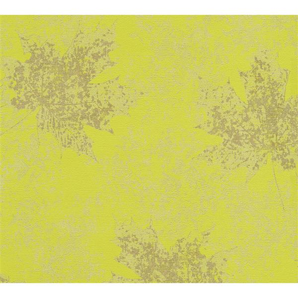 A.S. Creation Borneo Collection Wallpaper Roll - Maple Leaf - Yellow