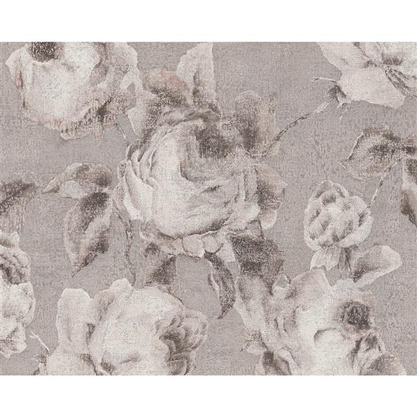 A.S. Creation Bohemian Burlesque Wallpaper Roll - 21-in - Off-White and Grey Floral Pattern