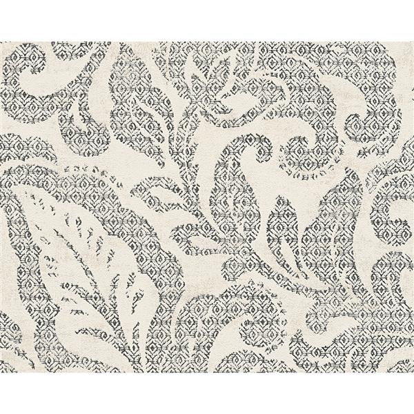 A.S. Creation Bohemian Burlesque Wallpaper Roll - 21-in - Cream and Grey Damask Pattern