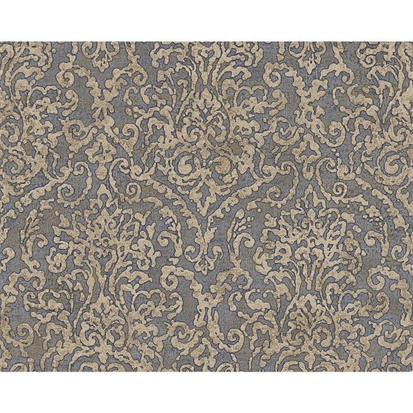 A.S. Creation Bohemian Burlesque Wallpaper Roll - 21-in - Grey and Beige Damask Pattern