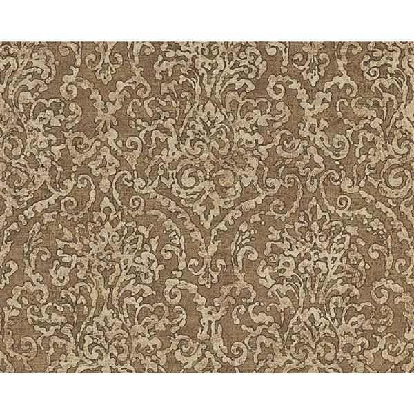 A.S. Creation Bohemian Burlesque Wallapper Roll - 21-in - Light Gold and Brown Damask Pattern