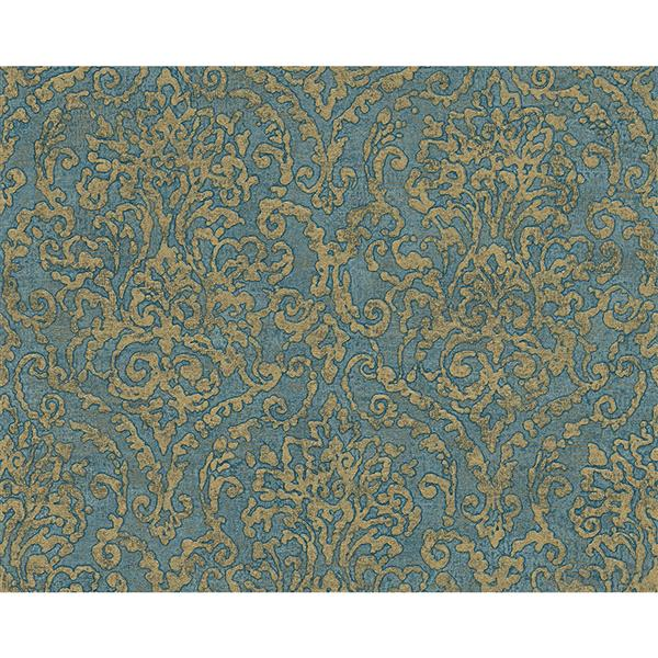 A.S. Creation Bohemian Burlesque Wallpaper Roll - 21-in - Blue and Gold Damask Pattern