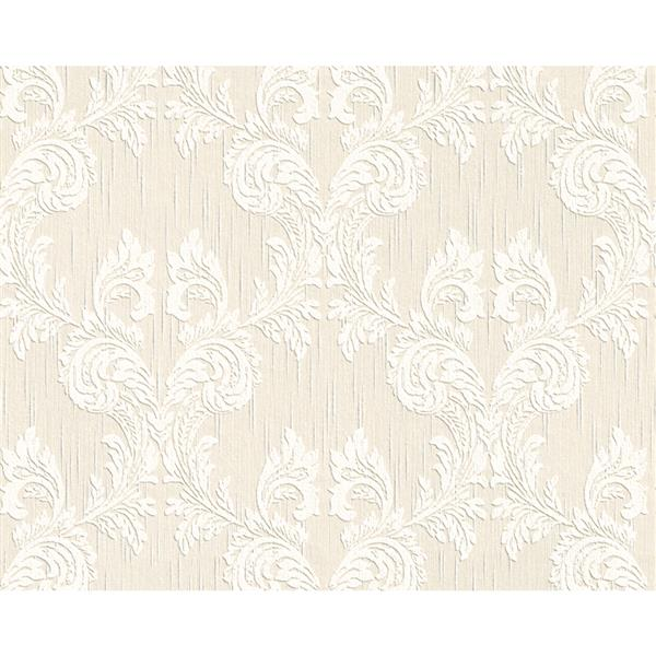 A.S. Creation Blanc Collection Wallpaper Roll - Damask Pattern - Cream/White