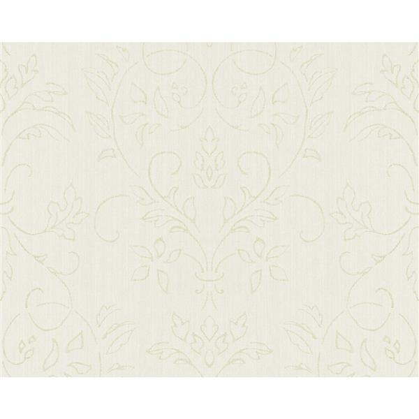 A.S. Creation Blanc Collection Wallpaper Roll - Light Green Damask Pattern