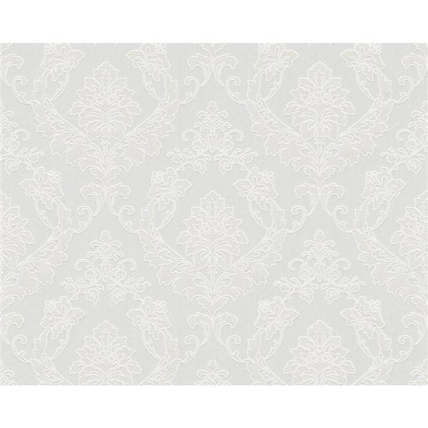 A.S. Creation Blanc Collection Wallpaper Roll - Damask Pattern - Grey and Off-White
