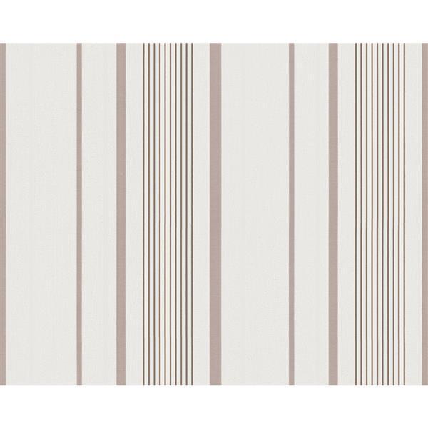 A.S. Creation Modern Floral Striped Wallpaper Roll - Cream