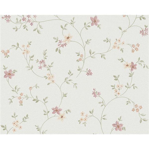 A.S. Creation Best Of Vlies Wallpaper Roll - Cottage Floral - Green/White