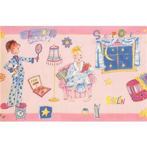 Retro Art Girls Teen Wallpaper Border - Pink