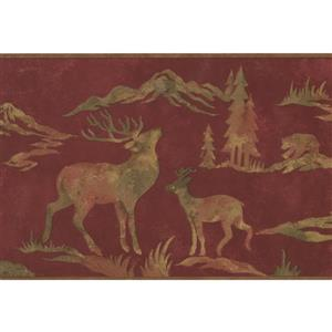 Retro Art Wildlife Wallpaper Border - Maroon