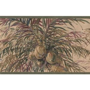 Retro Art Coconuts on Palm Trees Wallpaper Border - Beige
