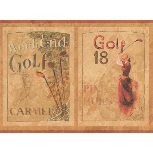 York Wallcoverings Vintage Golf Wallpaper Border Beige
