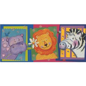 Retro Art Cartoon Animal Wallpaper Border - Multicoloured