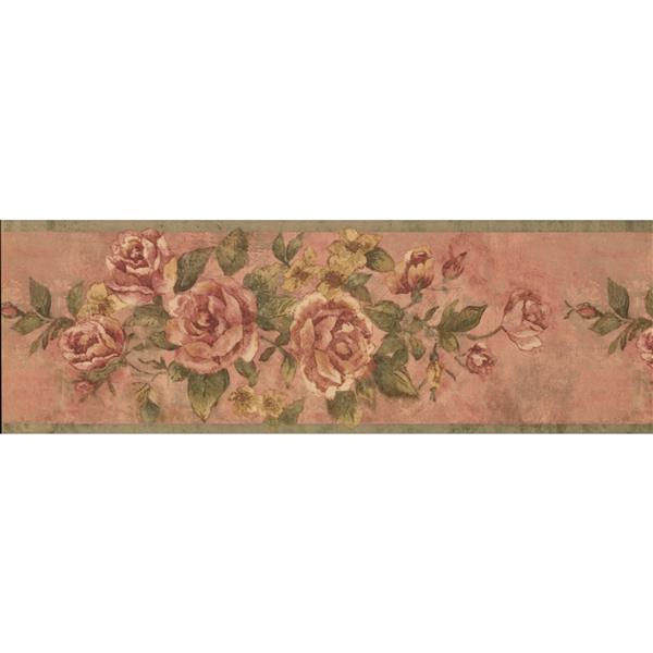 Retro Art Vintage Bloomed Roses Wallpaper - Magenta